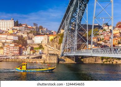 View of the historic city of Porto with the Dom Luiz bridge. Portugal, Porto