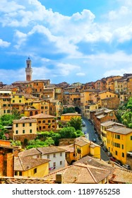 View of the historic cityscape of Siena in Tuscany, Italy.