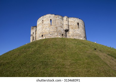 A view of the historic Cliffords Tower in York, England.