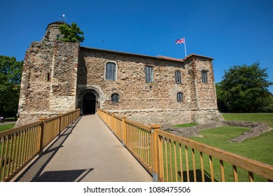 A view of the historic Colchester Castle, located in the market town of Colchester in Essex, UK.