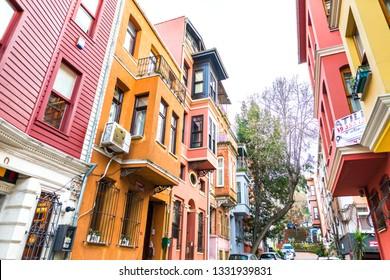 View of historic colorful buildings in Kuzguncuk. Kuzguncuk is a neighborhood in the Uskudar district in Istanbul, Turkey 2019.