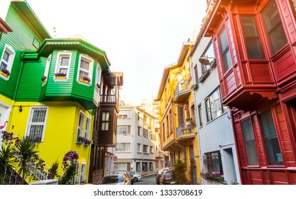 View of historic colorful buildings in Kuzguncuk. Kuzguncuk is a neighborhood in the Uskudar district in Istanbul.