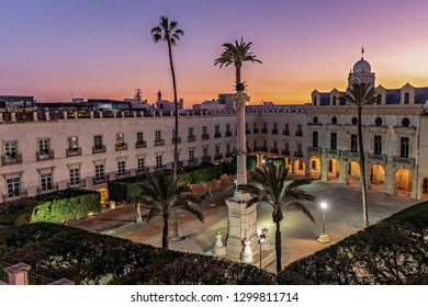 View of historic Constitution square or Old square in old town Almeria, Andalusia, Spain.