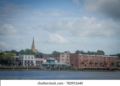A view of historic downtown Wilmington, NC, across the Cape Fear River.