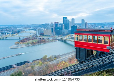 View of historic Duquesne Incline car and Pittsburgh panorama from the observation deck