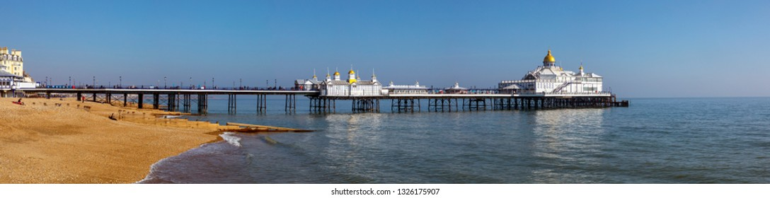A view of the historic Eastbourne Pier in Eastbourne, East Sussex, UK.