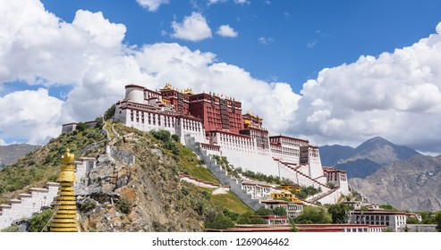 view of the Historic Ensemble of the Potala Palace in Lhasa, Tibet, China, which it is now a museum and World Heritage Site.