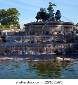 A view of the historic Gefion Fountain in the city of Copenhagen, Denmark.
