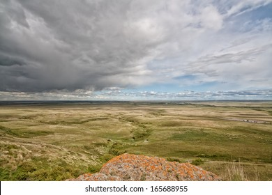View from the historic head-smashed in buffalo jump as a storm comes in.