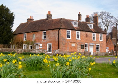 View of the historic home of author Jane Austen (1775-1817) in Chawton, Hampshire.  The Georgian house is now open to the public.