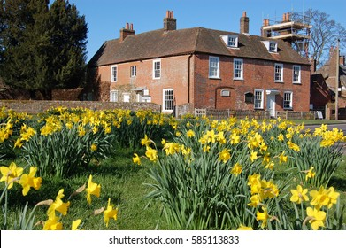 View of the historic home of the novelist Jane Austen in the village of Chawton in Hampshire.  The author wrote some of her famous books while living in this quiet village near Alton.