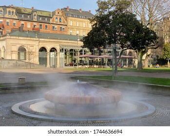 View of the historic hot-water spring Kochbrunnen in Wiesbaden in Germany