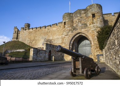 A view of the historic Lincoln Castle in Lincoln, UK.  The Castle was constructed by William the Conqueror in the 11th Century.