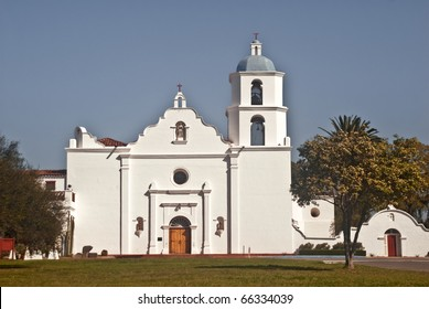 View of historic Mission San Luis Rey - one of the historic Spanish missions in California