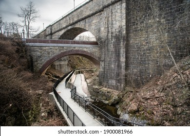 View of the historic Old Croton Aqueduct in New York State seen from Ossining Greenway