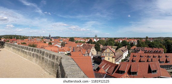 View of the historic old town of Quedlinburg from the castle
