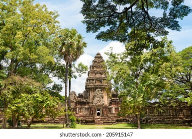 View of the historic Prasat Hin Phimai Castle at Nakhon Ratchasima, Thailand. The Khmer Castle were built during the Angkor period and marked the northern reaches of the realm.