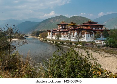 View of the historic Punakha Dzong in Bhutan