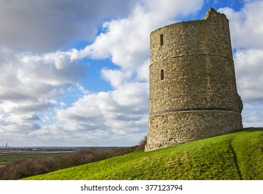 A view of the historic remains of Hadleigh Castle in Essex, England.