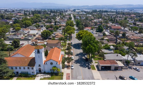 View of the historic residential district of Chino, California, USA.