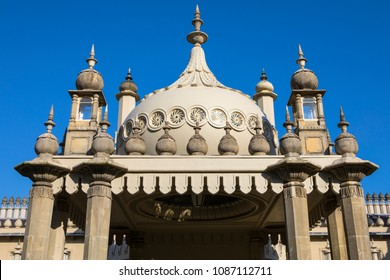 A view of the historic Royal Pavilion, located in the city of Brighton in Sussex, UK.  It is built in the Indo-Saracenic style.
