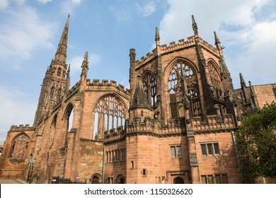 A view of the historic ruin of St. Michaels - part of the Coventry Cathedral buildings that were destroyed by the Luftwaffe during the Second World War.