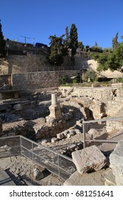 A view of the historic ruins of the Pool of Bethesda in the Muslim Quarter of Jerusalem. It is believed to be the place where Jesus healed the paralytic.