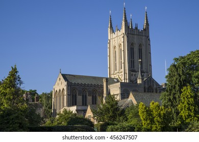 A view of the historic St. Edmundsbury Cathedral in Bury St. Edmunds, Suffolk.