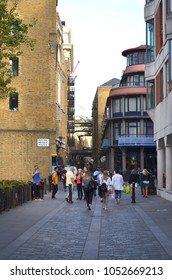 View to the historic walkway through the Shad Thames with brick buildings in Bermondsey - London, Great Britain - 08/01/2015