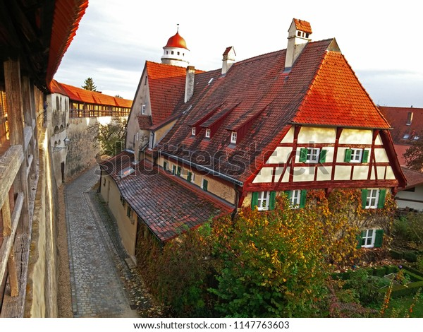A view of the historic wall and old houses of Rothenberg on Tauber in Germany
