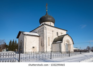 View of the historic white-stone Saint George Cathedral in winter, Yuryev-Polsky, Russia