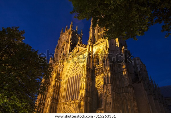 A view of the historic York Minster at dusk in York, England.