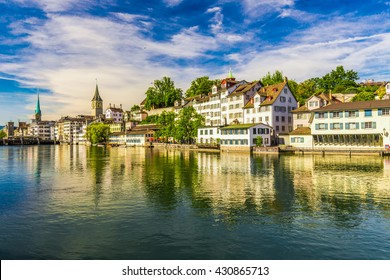 View of historic Zurich city center with famous Fraumunster Church, Limmat river and Zurich lake