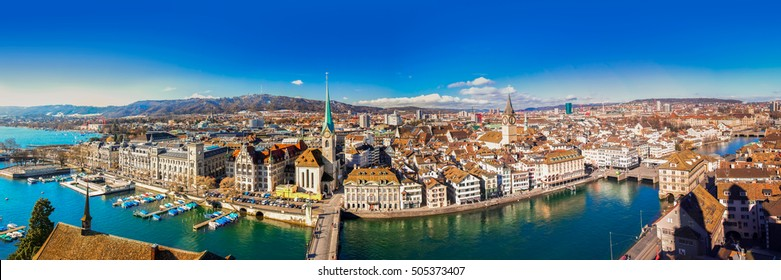 View of historic Zurich city center with famous Fraumunster Church, Limmat river and Zurich lake from Grossmunster Church, Switzerland