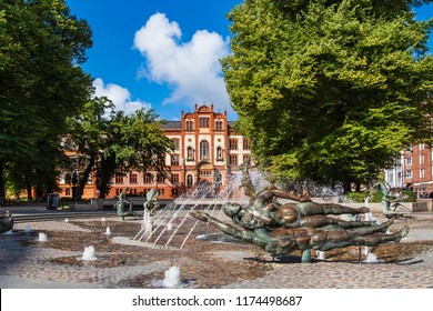 View to a historical building in Rostock, Germany.