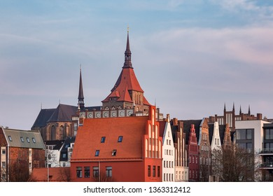 View to historical buildings in Rostock, Germany.