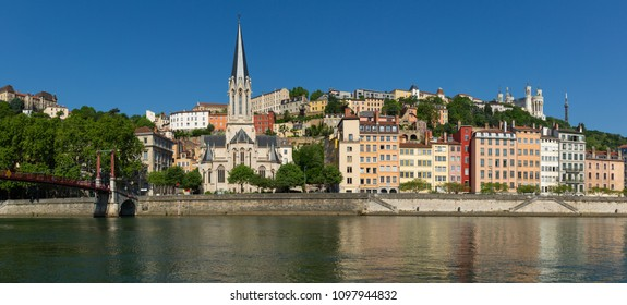 View at the historical buildings of UNESCO world heritage site Vieux-Lyon over the Saone river. Lyon, France.