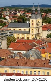 View of the historical center of Eger, Hungary. View from the Lyceum