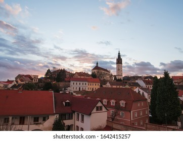 View of the historical center of Litomerice from the gallery of the town walls.We can see St. Stephen's cathedral on a hill called Domsky pahorek (lat. Mons sancti Stephani).
