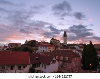 View of the historical center of Litomerice from the gallery of the town walls. We can see St. Stephen's cathedral on a hill called Domsky pahorek (lat. Mons sancti Stephani).