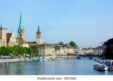 View of historical centrum of Zurich