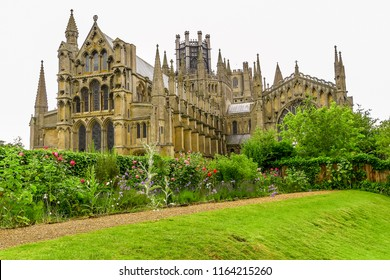 View of historical Ely Cathedral in summer, Ely, Cambridgeshire, England