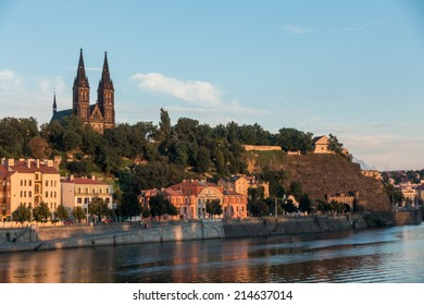 View of historical fort Vysehrad in Prague at sunset