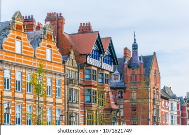 View of historical houses in the old town of Nottingham, England