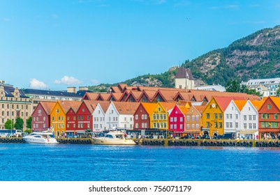 View of a historical wooden district Bryggen in the norwegian city Bergen.