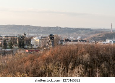 view to Hladnov from Halda Ema hill in Ostrava city in Czech republic during autumn afternoon