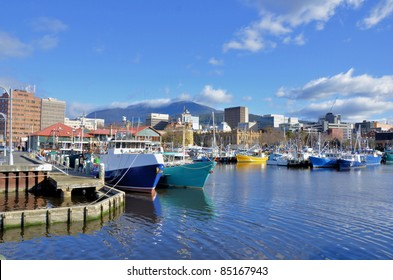 View of Hobart Harbour in a Clear Winter Day