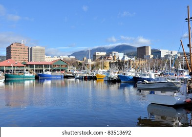 View of Hobart Harbour on a Clear Winter Day