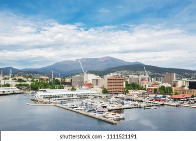 View of the Hobart from  sea, capital of Australia's island state of Tasmania at the noon.