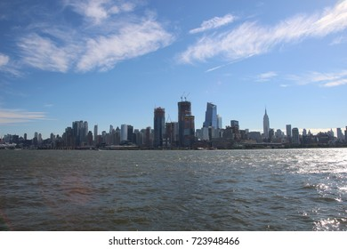 The view from Hoboken on the Manhattan island in the sunny day